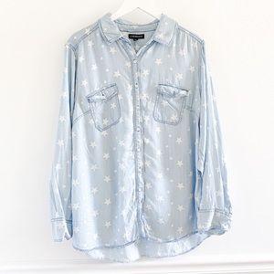 Lane Bryant Star Print Chambray Button Down Shirt